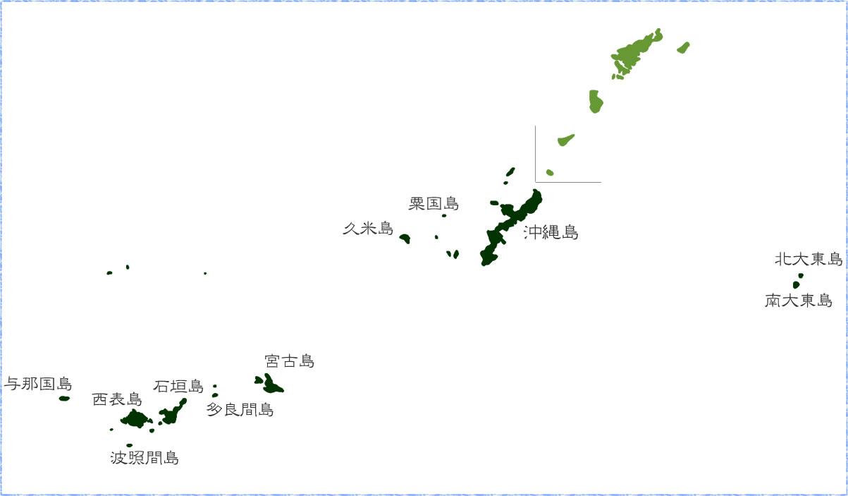 沖縄本島と離島の地図